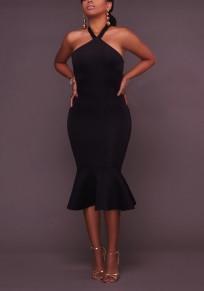 Black Buttons Ruffle Halter Neck Backless Bodycon Elegant Party Midi Dress