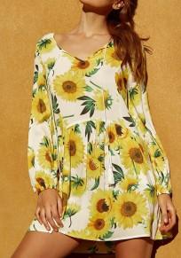 Gelbe Sonnenblume Drucken Plissee Taschen Quaste Flowy Lange Ärmel Niedlich Minikleid