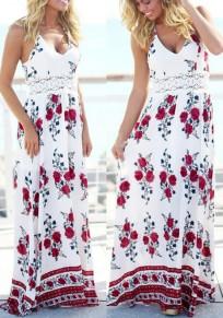 White Flowers Draped Lace Lace-up Halter Neck V-neck Bohemian Maxi Dress