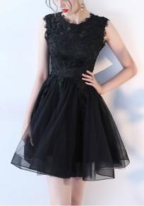 Mini-robe avec dentelle tutu tulle manches courtes élégant de soirée noir