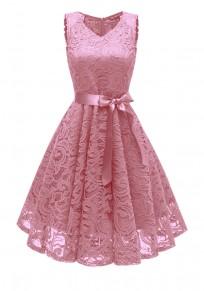 Pink Draped Lace Sashes A-Line V-neck Elegant Midi Dress