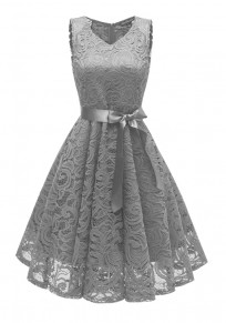 Grey Draped Lace Sashes A-Line V-neck Elegant Party Midi Dress