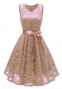 Apricot Draped Lace Sashes A-Line V-neck Elegant Party Midi Dress
