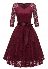 Burgundy Draped Lace Sashes A-Line V-neck Elegant Party Midi Dress