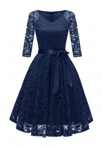 Marineblau Spitze V-Ausschnitt Drapiert mit Schleife Gürtel Elegantees Midikleid Partykleid Cocktailkleid Kurz