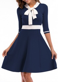 Sapphire Blue Draped Bodycon Bow Collar Office Worker/Daily Elegant Midi Dress