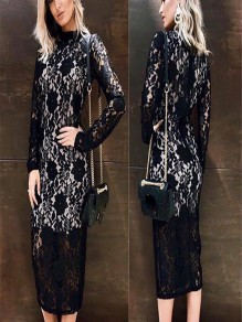 Black Floral Cut Out Lace Embroidery Round Neck Long Sleeve Midi Dress