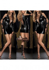 Black Cross Cut Out Plunging Neckline PU Leather Mini Dress