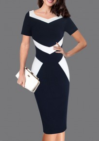 Black Color Block Zipper Bodycon Elegant Party Midi Dress