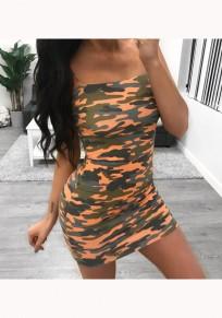 Orange Camouflage Print Condole Belt Fashion Bodycon Mini Dress