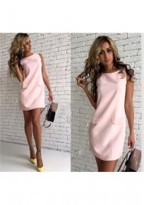 Mini robe plaine col rond doux dacron rose