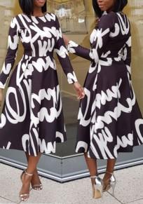 Black Monogram Print Pleated Tutu Elegant Banquet Party Midi Dress