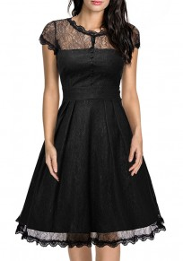 Black Patchwork Lace Pleated Studded Zipper Round Neck Midi Dress