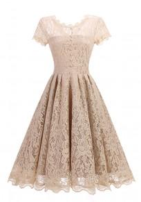 Apricot Patchwork Lace Pleated Studded Zipper Round Neck Midi Dress