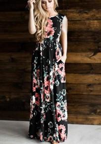 Robe longue imprimé à fleurie drapé taille haute col rond sans manches mode boho noir
