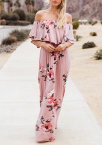Maxi vestito fiori arruffati pieghe sulla spalla spiaggia bohémien senza schienale rosa