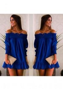Blue Wavy Edge Boat Neck Elegant Mini Dress