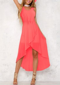 Watermelon Red?Irregular Draped High-low Bohemian Chiffon Maxi Dress