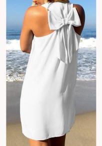 Weiß mit Schleife Ärmellos Lässige Chiffon Minikleid Strandkleid Kurz