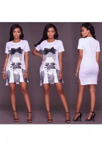 White Figure Bow Round Neck Short Sleeve Fashion Mini Dress
