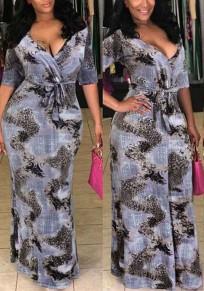 Grey Leopard Print Belt V-neck Mermaid Bohemian Party Maxi Dress