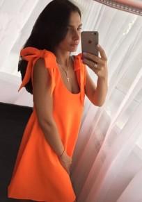Orange Shoulder-Strap Backless Scoop Neck Fashion Mini Dress