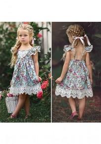 Midi-robe lien en dentelle fleurie dos nu col rond mode multicolore
