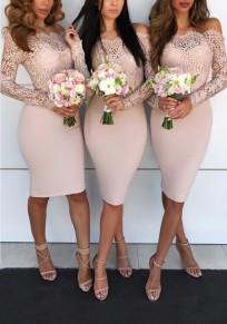 Vestido A media pierna encaje en el hombro sin respaldo para la boda elegante fiesta rosa