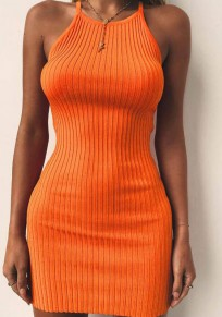 Orange Plain Condole Belt Round Neck Mini Dress