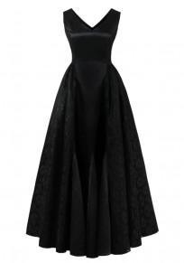Robe maxi dentelle plissée tutu v-cou banquet demoiselle d'honneur élégante soirée noir
