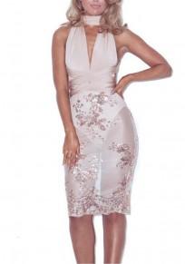 Champagne Patchwork Zipper Sequin Sashes V-neck Fashion Mini Dress
