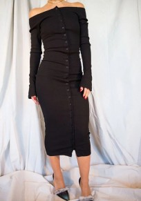 Black Single Breasted Boat Neck Long Sleeve Fashion Midi Dress