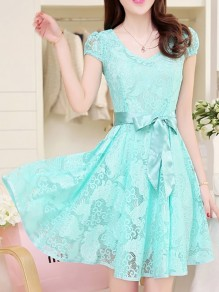 Sky Blue Flowers Lace Bow Round Neck Elegant Mini Dress