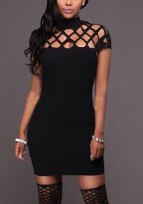 Schwarzes Kreuz ausgeschnitten Rundhals Mode Minikleid