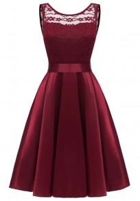 Burgundy Patchwork Lace Pleated Bow Sashes Tutu Banquet Elegant Party Midi Dress