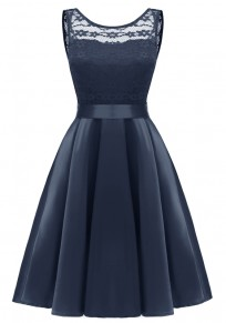 Navy Blue Patchwork Lace Pleated Bow Sashes Tutu Banquet Elegant Party Midi Dress