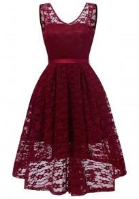 Burgundy Lace Draped Sashes Bow V-neck Banquet Elegant Party Midi Dress
