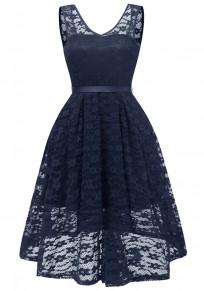 Navy Blue Lace Draped Sashes Bow V-neck Banquet Elegant Party Midi Dress