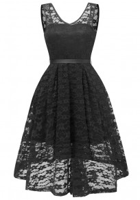 Black Lace Draped Sashes Bow V-neck Banquet Elegant Party Midi Dress