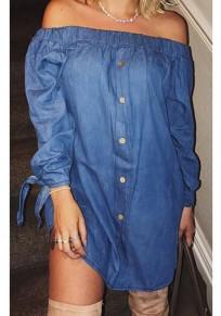 Mini-robe poitrine bowknot off épaule dos nu parti occasionnel bleu foncé