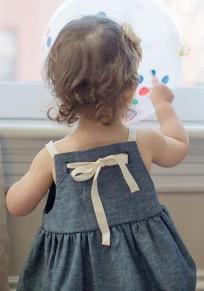 Graue Condole Gürtel Bogen Rundhals Niedlich Kinder Minikleid