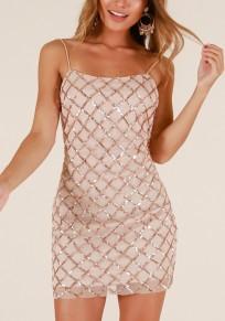 Apricot Plaid Sequin Spaghetti Strap Backless Sparkly Bodycon Party Mini Dress