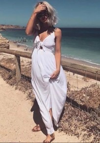 White Plain Shoulder-Strap Bow V-neck Sleeveless Casual Midi Dress