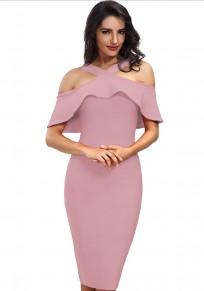 Light Purple Plain Ruffle Zipper Boat Neck Sleeveless Elegant Midi Dress
