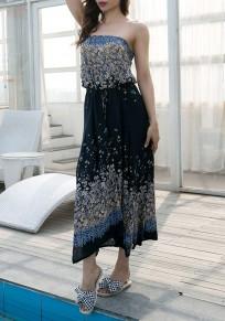 Navy Blue Floral Drawstring Irregular Bandeau National Midi Dress