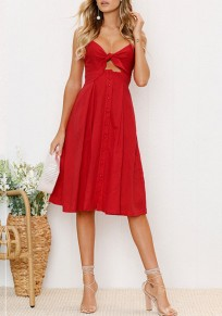 Red Cut Out Bow Single Breasted V-neck Midi Dress