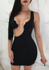 Black Irregular Iron Hoop Bodycon Backless Clubwear Cocktail Party Mini Dress