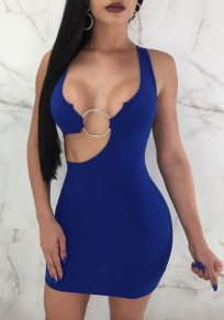 Blue Irregular Iron Hoop Bodycon Backless Clubwear Cocktail Party Mini Dress