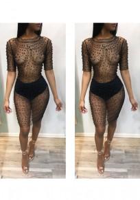 Black Beaded Beading Grenadine Bodycon Sheer Clubwear Cocktail Party Midi Dress