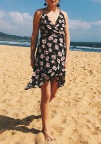 Midi-robe fleurs irrégulières drapées dos nu v-col bohémien doux noir